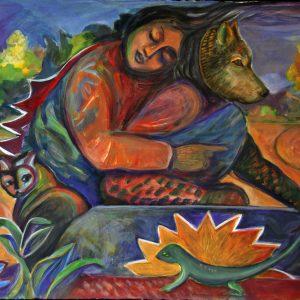"""<b>Carmen León</b> <i>Spirit Guide</i>, acrylic painting, 30"""" x 38"""", 2011"""