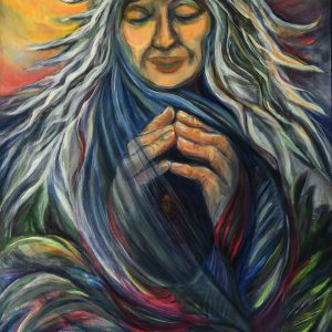 "<b>Carmen León</b> <i>Grand Mother Spirit</i>, acrylic painting, 31"" x 25"", 2015"